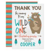 Wild One tribal Bear Birthday Thank You Card