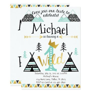 Aztec Themed Wild One Tribal Birthday Party Invitation Boy