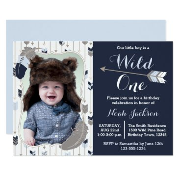 prettypicture Wild One Tribal First Birthday Blue Photo Card