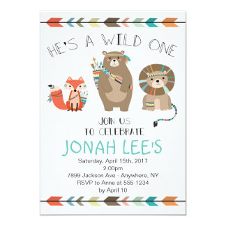 Wild One - Tribal First Birthday Invitation