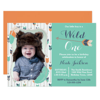 Wild One Tribal First Birthday Photo Invitation