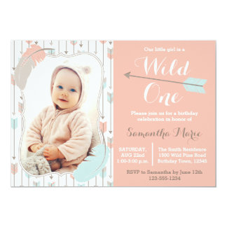 Wild One Tribal Girl First Birthday Pink Photo Card