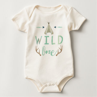 Wild One Tribal Teepee Blue Baby Boy Bodysuit