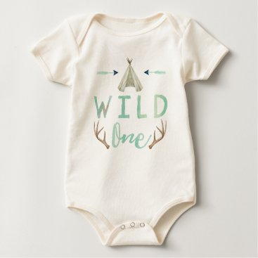 joyonpaper Wild One Tribal Teepee Blue Baby Boy Bodysuit