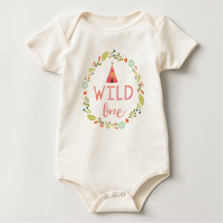 Wild One Tribal Teepee Pink Floral Baby Bodysuit