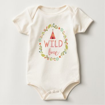 joyonpaper Wild One Tribal Teepee Pink Floral Baby Bodysuit