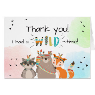 Wild One Tribal Woodland Animals Thank You Card