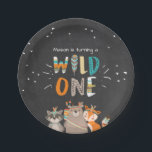 """Wild One Tribal Woodland birthday Paper Plates<br><div class=""""desc"""">♥ A perfect addition to your little one&#39;s birthday party! Wild One birthday theme with tribal woodland animals.</div>"""