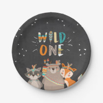 Wild One Tribal Woodland birthday Paper Plates