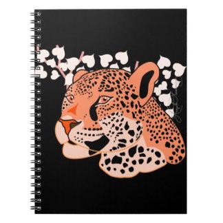 Wild Orange Jaguar Spiral Notebook