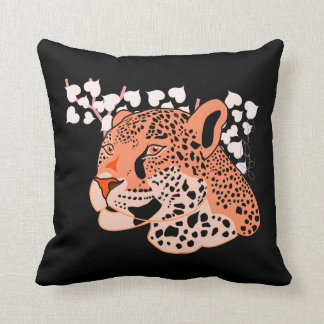 Wild Orange Jaguar Throw Pillow