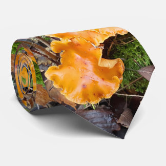 Wild Orange Mushrooms Nature Photo Neck Tie