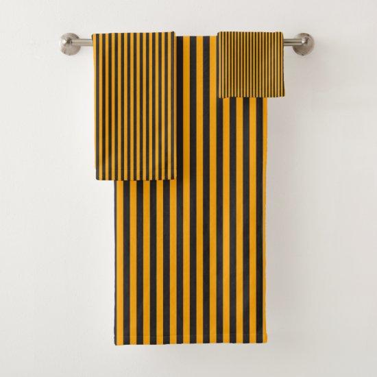 Wild Orange With Black Stripes Bath Towels