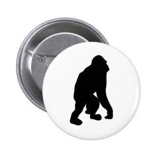 Wild Orangutan Great Ape Monkey Silhouette Buttons