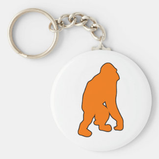 Wild Orangutan Great Ape Monkey Silhouette Keychain