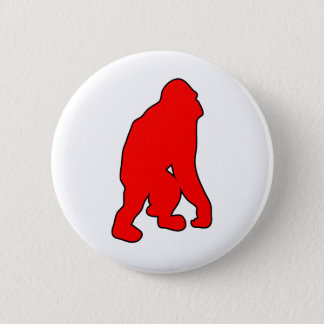 Wild Orangutan Great Ape Monkey Silhouette Pinback Button