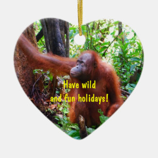 Wild Orangutan Holiday Ceramic Ornament