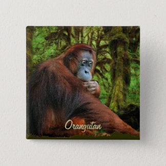 Wild Orangutan & Jungle Primate Art Button