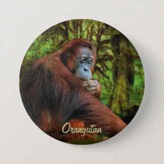 Wild Orangutan & Jungle Primate Art Button