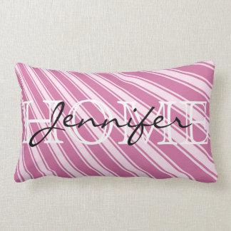 Wild orchid Color Stripe Pattern Home Monogram Lumbar Pillow