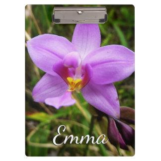 Wild Orchid Purple Tropical Flower Clipboard