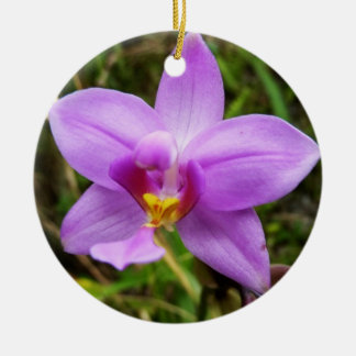 Wild Orchid Tropical Flower Ceramic Ornament