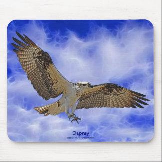 Wild Osprey Landing & Fractal Clouds Art Mousepad