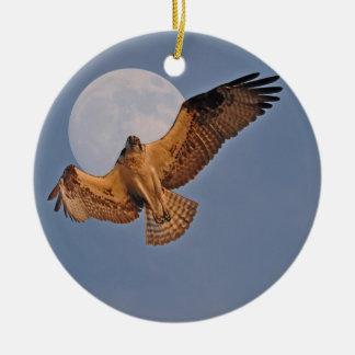 Wild Osprey & Super Moon Photo Design Double-Sided Ceramic Round Christmas Ornament