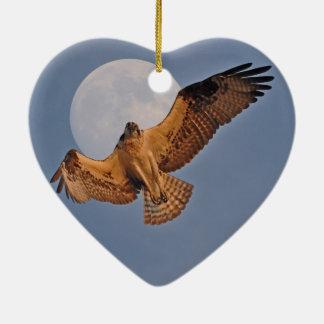Wild Osprey & Super Moon Photo Design Double-Sided Heart Ceramic Christmas Ornament