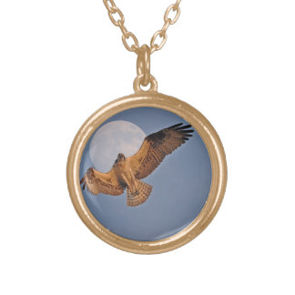Wild Osprey & Super Moon Photo Design Gold Plated Necklace
