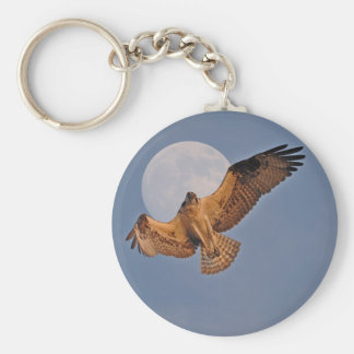 Wild Osprey & Super Moon Photo Design Keychain