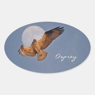 Wild Osprey & Super Moon Photo Design Oval Sticker