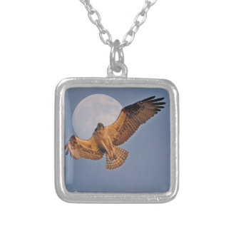 Wild Osprey & Super Moon Photo Design Silver Plated Necklace