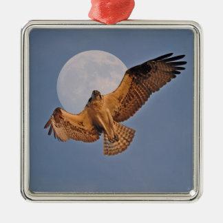 Wild Osprey & Super Moon Photo Design Square Metal Christmas Ornament
