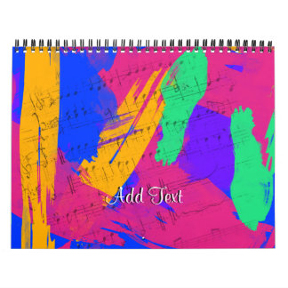 Wild Paint Brush Colors and Music Sheets Calendar