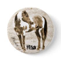 Wild Paint Horse Stallion Picasso Button
