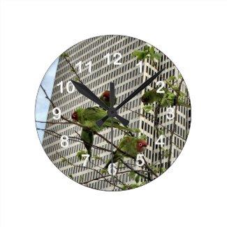 Wild Parrots Wall Clock