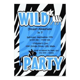 "Wild Party/ Blue Zebra 5"" X 7"" Invitation Card"