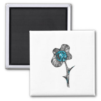 Wild Peace Flower 2 Inch Square Magnet