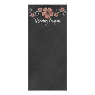 Wild Peach Roses Chalkboard Wedding Program Card