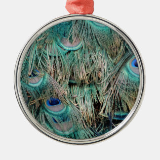 Wild Peacock Feathers Lovely Colors Metal Ornament