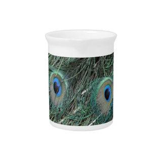wild peafowl feathers beverage pitcher
