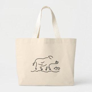 wild pig frischling keiler wild sow large tote bag