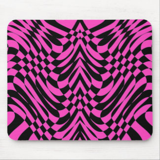 Wild Pink and Black Abstract OpArt Mouse Pad