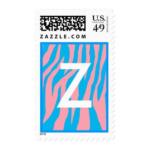 Wild Pink & Blue Zebra Postage
