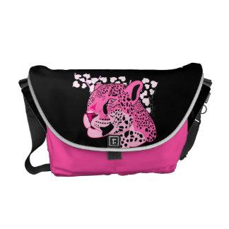 Wild Pink Jaguar Messenger Bags