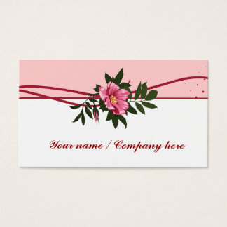 Wild pink rose floral business card