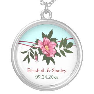 Wild pink rose floral wedding keepsake necklace