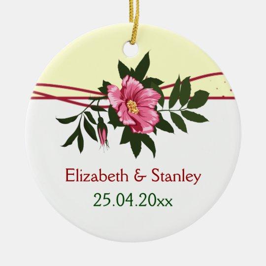 Wild pink rose floral wedding keepsake ornament