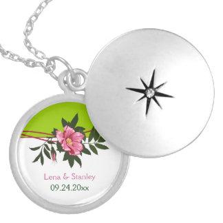 Wild pink rose floral wedding lime green keepsake custom jewelry